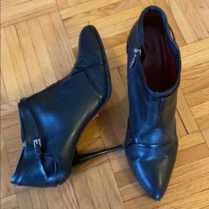 Cesare Paciotti Red Bottoms Leather Ankle Booties